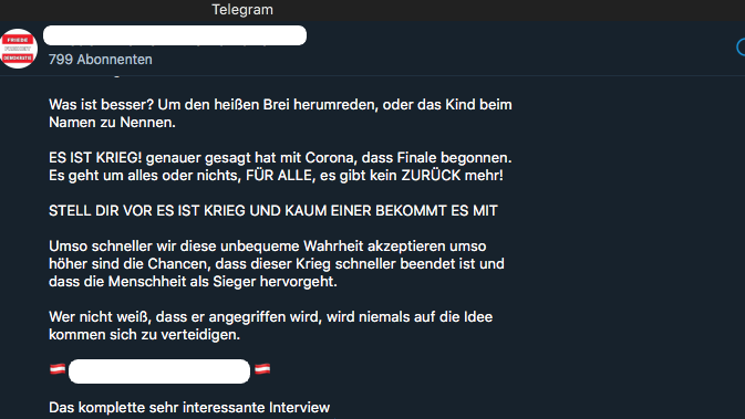 Screenshot aus einem Telegram-Kanal